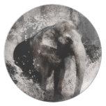 Dessin vintage d'éléphant - art de peinture chinoi assiette pour soirée