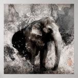 Dessin vintage d'éléphant - art de peinture chinoi affiches