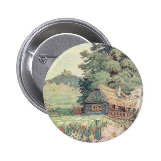 Dessin vintage : Petit cottage de montagne au Badge