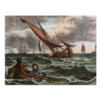 Dessin vintage : Tempête en mer Carte Postale