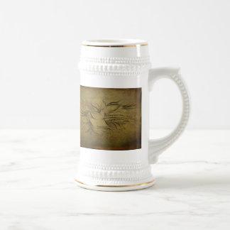 Dessins au trait vintages d'oiseaux d'or mugs à café