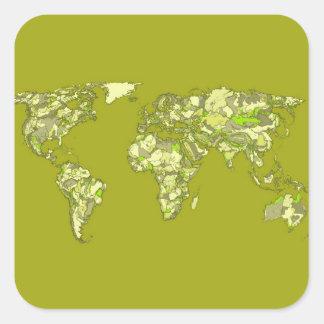 Dessins continents kaki sticker carré