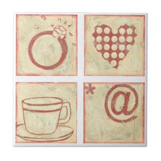 Dessins de bois de graveur de coeur et d'anneau petit carreau carré
