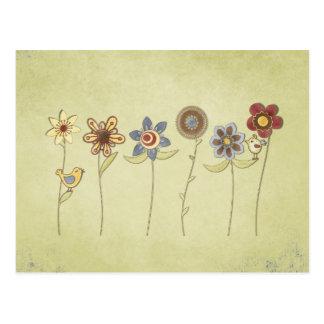dessins de fleur et d'oiseau mignons carte postale