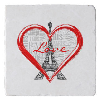 Dessous-de-plat Amour Paris de Tour Eiffel   au coeur rouge