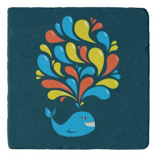 Dessous-de-plat Baleine heureuse bleue de bande dessinée