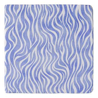 Dessous-de-plat Copie bleue de zèbre d'aquarelle de denim
