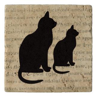 Dessous-de-plat Document sur papier d'éphémères des chats noirs on