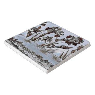 Dessous-de-plat Gravure à l'eau-forte florale bleue