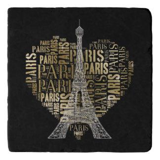Dessous-de-plat Inscriptions d'or Paris de Tour Eiffel   au coeur