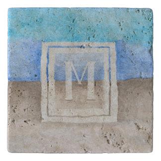 Dessous-de-plat Mer de monogramme d'aquarelle et bleu et Tan de