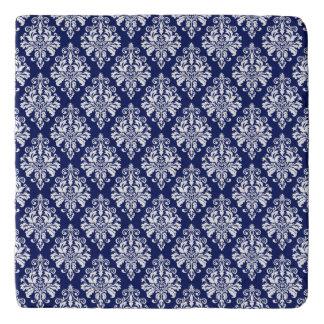 Dessous-de-plat Motif élégant de damassé de bleu marine et de