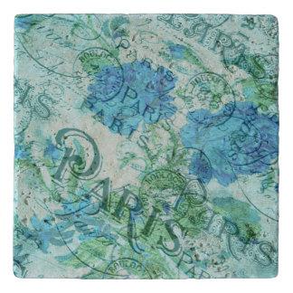 Dessous-de-plat Motif floral bleu vintage de cachet de la poste de
