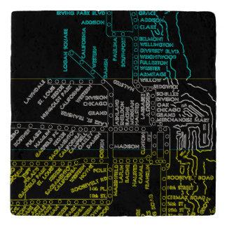 Dessous-de-plat NÉON vintage d'itinéraire de carte de système de