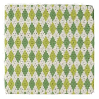 Dessous-de-plat Rétro motif à motifs de losanges géométrique vert