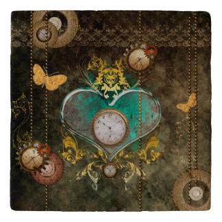Dessous-de-plat Steampunk, coeur merveilleux avec des horloges