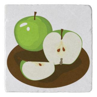 Dessous-de-plat Trépied en pierre de marbre de pommes vertes