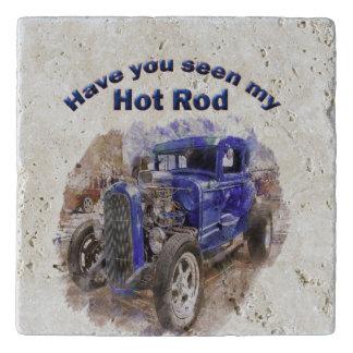 Dessous-de-plat Vieux roadster vintage bleu avec le moteur