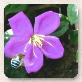 Dessous-de-verre Abeille et fleur bleues