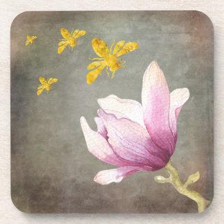 Dessous-de-verre Abeilles de fleur et d'or d'aquarelle