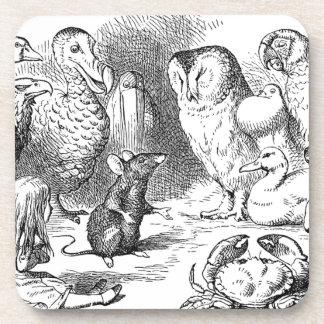 Dessous-de-verre Alice, souris et oiseaux
