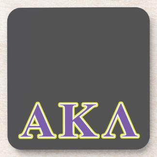 Dessous-de-verre Alpha Kappa lettres blanches et jaunes de lambda