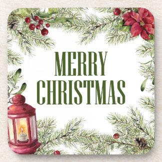 Dessous-de-verre Aquarelle de Noël | - cadre de houx et de bougie