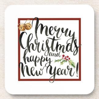 Dessous-de-verre Aquarelle de Noël | - citation de bonne année
