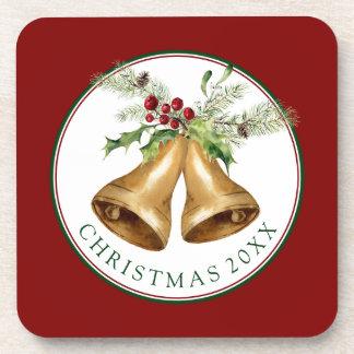 Dessous-de-verre Aquarelle de Noël | - gui et Bells de houx