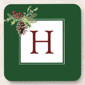 Dessous-de-verre Aquarelle de Noël | - houx vintage et Pinecone