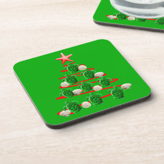 Dessous-de-verre Arbre de Noël de tortues de mer verte