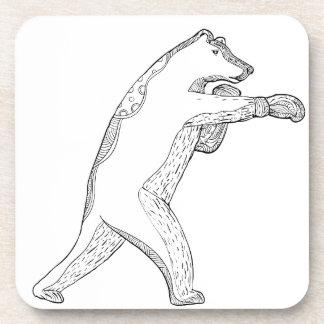 Dessous-de-verre Art de boxe de griffonnage d'ours gris