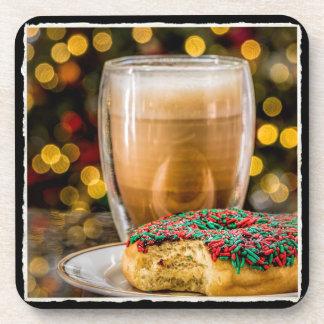 Dessous-de-verre Beignet de vacances et plastique de café/dessous