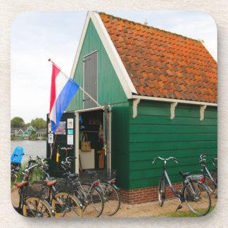 Dessous-de-verre Bicyclettes, village néerlandais de moulin à vent,