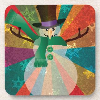 Dessous-de-verre Bonhomme de neige de Noël avec les flocons de