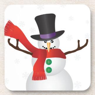 Dessous-de-verre Bonhomme de neige de Noël avec l'illustration de