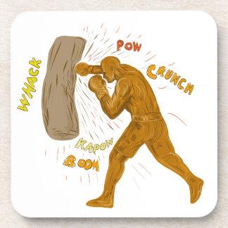 Dessous-de-verre Boxeur frappant le dessin de sac de sable