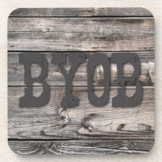 Dessous-de-verre BYOB - sur la texture en bois