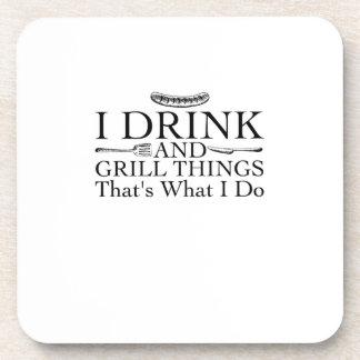Dessous-de-verre Cadeau de barbecue de BBQ drôle je bois et grille