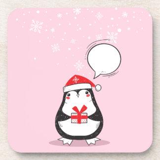 Dessous-de-verre Cadeau rose mignon de Noël de Noël de vacances de
