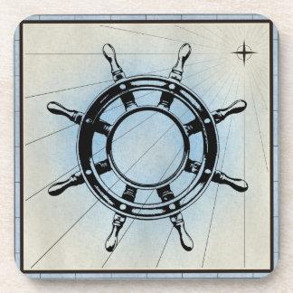 Dessous-de-verre Cadre marin de bleu d'impression de roue noire de