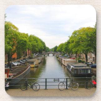 Dessous-de-verre Canal, ponts, vélos, bateaux, Amsterdam, Hollande