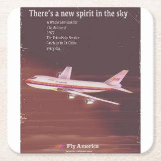 Dessous-de-verre Carré En Papier 1977 affiches vintages d'avion de ligne de style