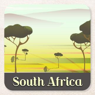 Dessous-de-verre Carré En Papier Affiche sud-africaine de voyage de soirée de