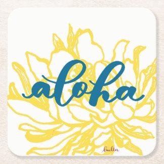 Dessous-de-verre Carré En Papier Aloha le cierge de turquoise fleurit des dessous