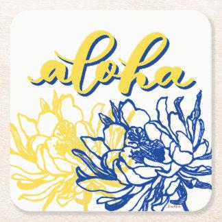 Dessous-de-verre Carré En Papier Aloha le cierge jaune bleu fleurit des dessous de