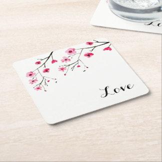 Dessous-de-verre Carré En Papier Amour, fleurs de cerisier, peinture d'aquarelle,