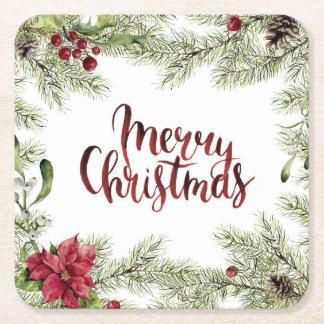 Dessous-de-verre Carré En Papier Aquarelle de Noël | - cadre de houx et de gui