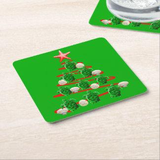 Dessous-de-verre Carré En Papier Arbre de Noël de tortues de mer verte