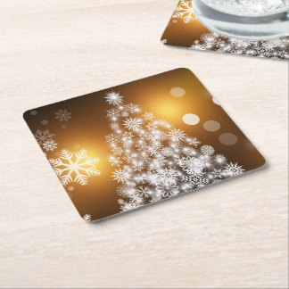 Dessous-de-verre Carré En Papier Arbre d'or de flocon de neige de Bokeh de Noël